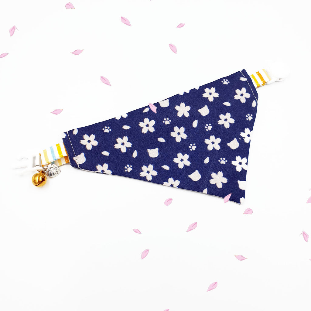 Cat Collar Bandanna Midnight Blue Sakura