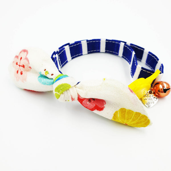 Rainbow Wagashi Bow Cat Collar