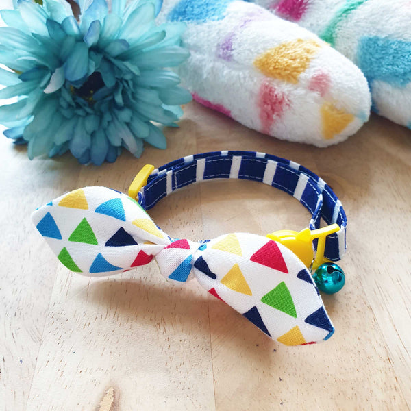 Colourful Happiness Bow Cat Collar