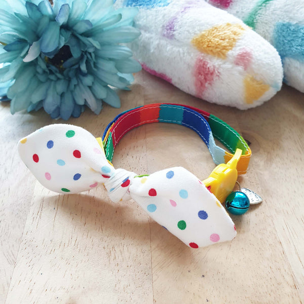 Polka Rainbow Bow Cat Collar