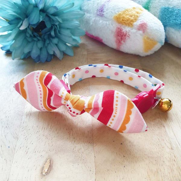 Polka Happiness Bow Cat Collar