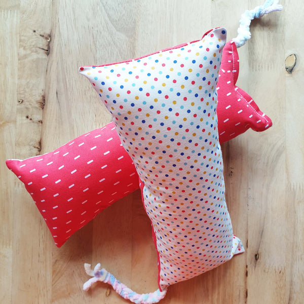 EXTRA LARGE Colourful Polka Catnip Silvervine Bolster Toy