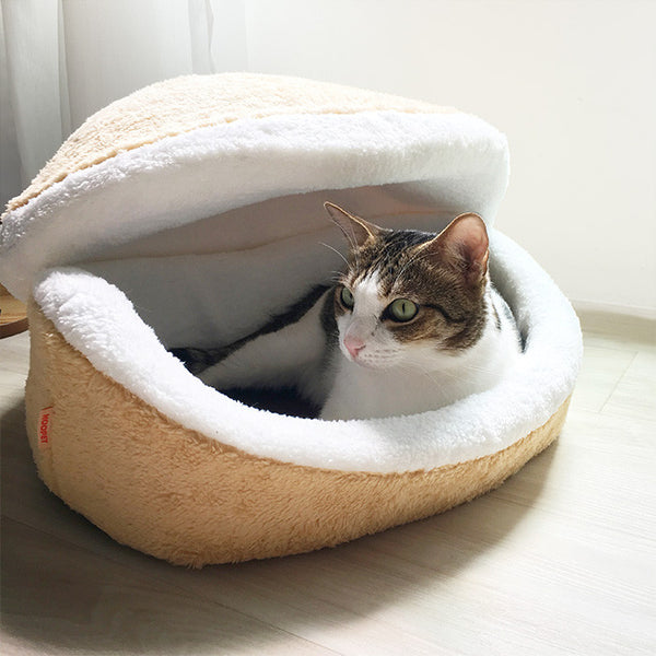 Large Macaroon Cat Bed with Button
