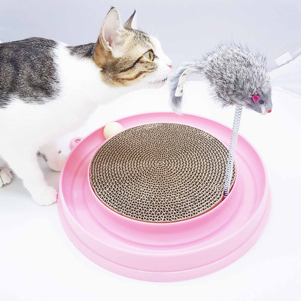 Cat Scratcher With Ball Toy and Spring Mouse (2 Colours Available)