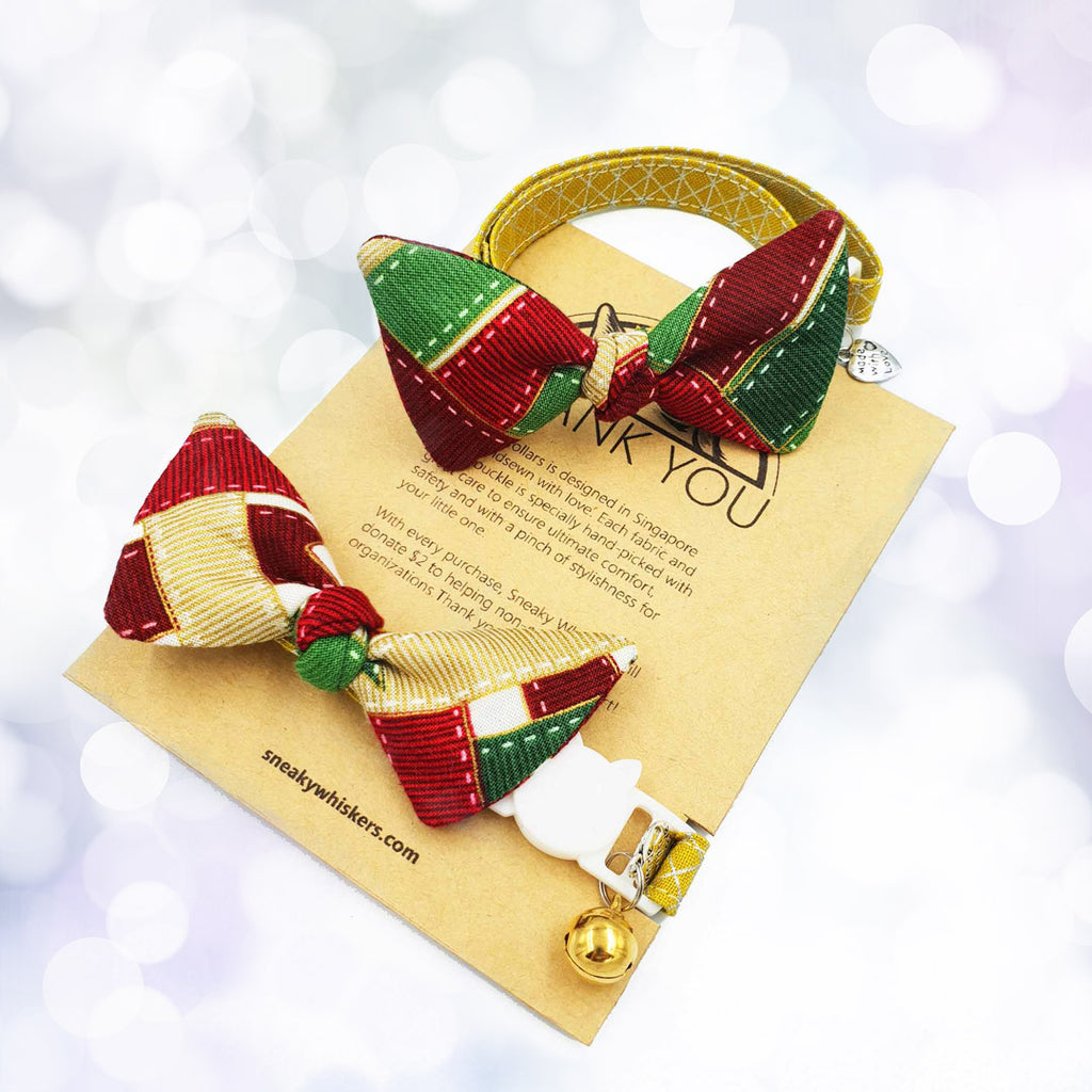 Colours of Christmas Bow Cat Collar