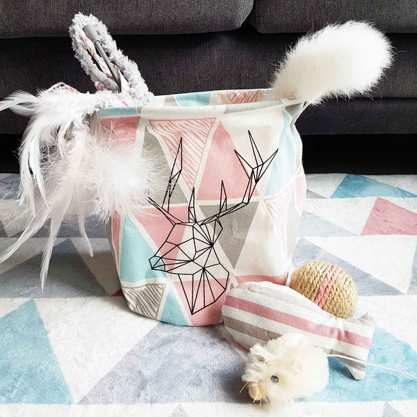 Geometric Deer Cat Toys Storage Bag - Small