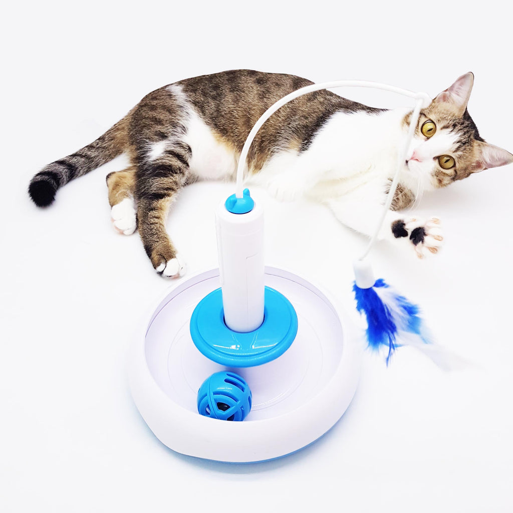 Interactive Cat Automatic Whirl Teaser With Catnip Ball and Feather