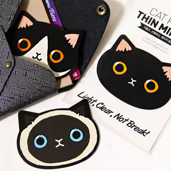 Korean Cat Face Thin Mirror (Many Designs Available)