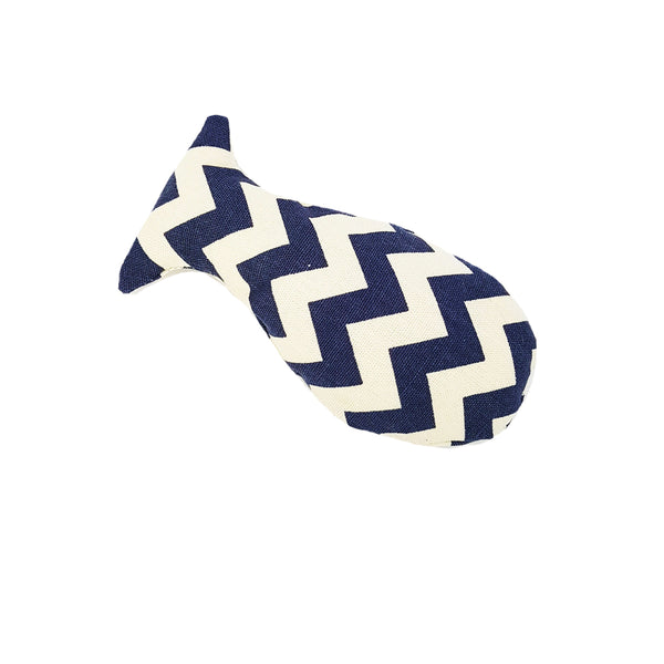 Navy Zig Zag Lines Catnip Fish Toy (Canvas Material)