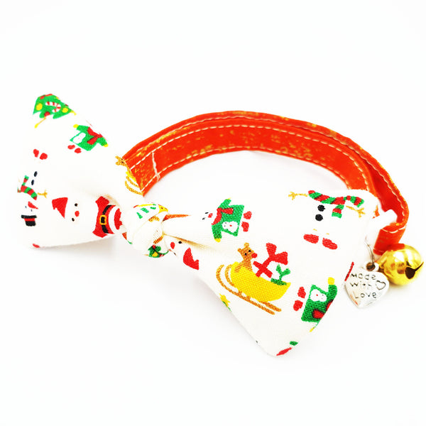 Splash of Christmas Gold Bow Cat Collar