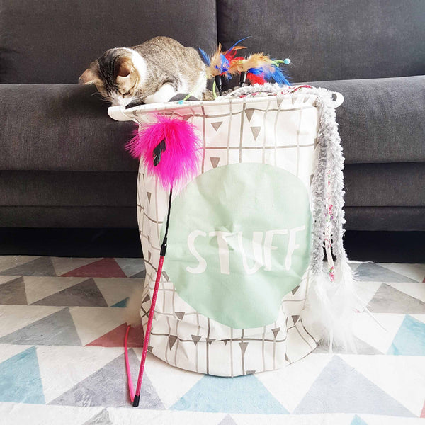 Stuff Typography Cat Toys Storage Bag - Large