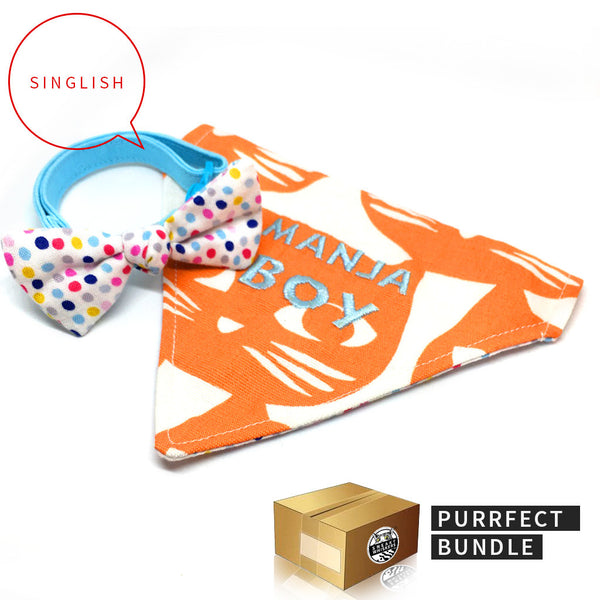 Purrrfect Bundle: Singlish Reversible Manja Boy Scarf & Modern Vintage Pastel Blue Bow Cat Collar