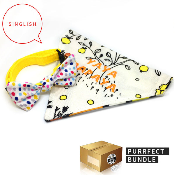 Purrrfect Bundle: Singlish Reversible Yaya Papaya Scarf & Colourful Polka Dots Bow Cat Collar