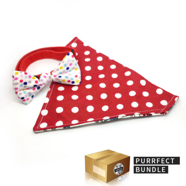 Purrrfect Bundle: Reversible Red Polka Dots / Floral Scarf & Polka Dots Bow Collar