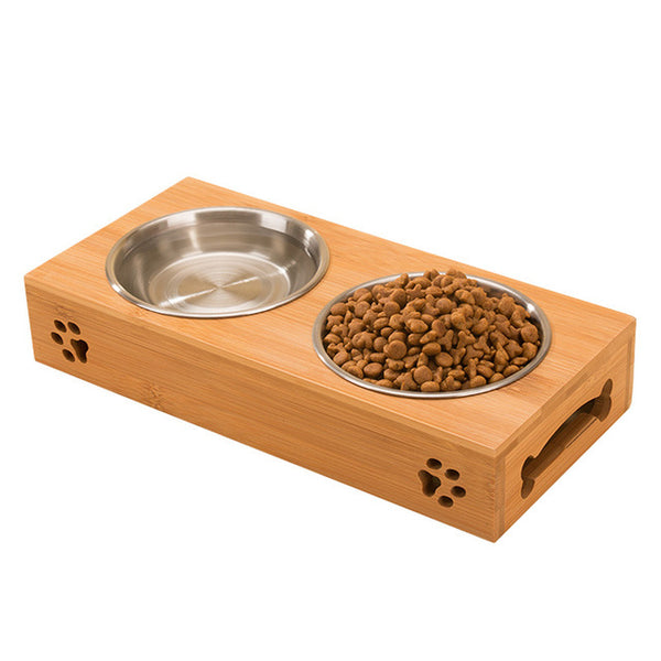 [WhiskersDirect] Double Bowl in Bamboo Stand