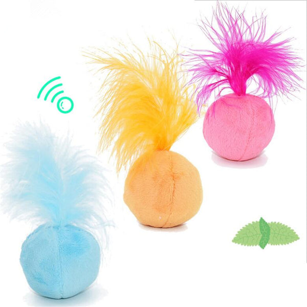 [WhiskersDirect] Interactive Fluffy Tailed Ball Toy with Sound and Catnip