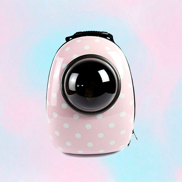 Pink Polka Dot Minimalist Cat Astronaut Capsule Pet Backpack