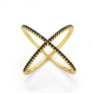 Stella Ring ~ Gold with Black CZs (Limited) - Cassiano Designs