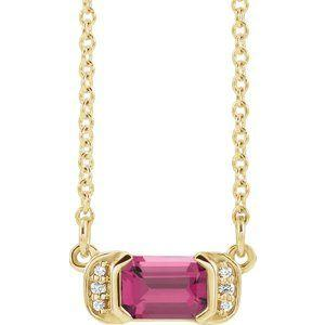 Audrey Gemstone Bar & Diamond Necklace