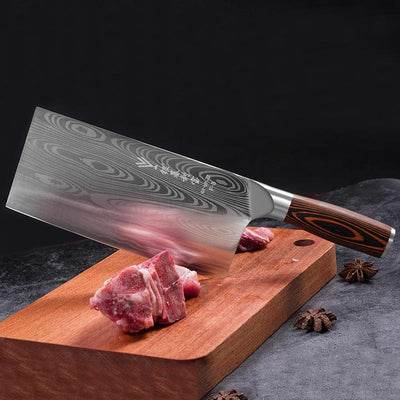 Deng knife High-grade handmade forged blade carbon steel kitchen knife Chinese chef knife vegetable cleaver kitchen Colour wood - kokkekniven.noDeng knife High-grade handmade forged blade carbon steel kitchen knife Chinese chef knife vegetable cleaver kitchen Colour wood