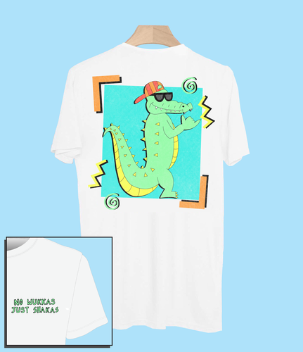 retro tee t-shirt surf 90s 80s nineties eighties tshirt vintage surfer crocodile shaka shakas