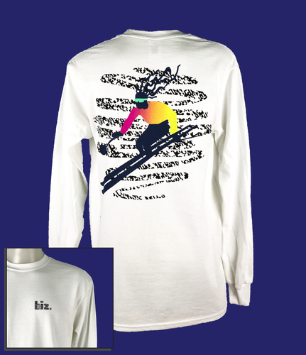 retro tee t-shirt surf 90s 80s nineties eighties tshirt vintage skiier snow ski long sleeve