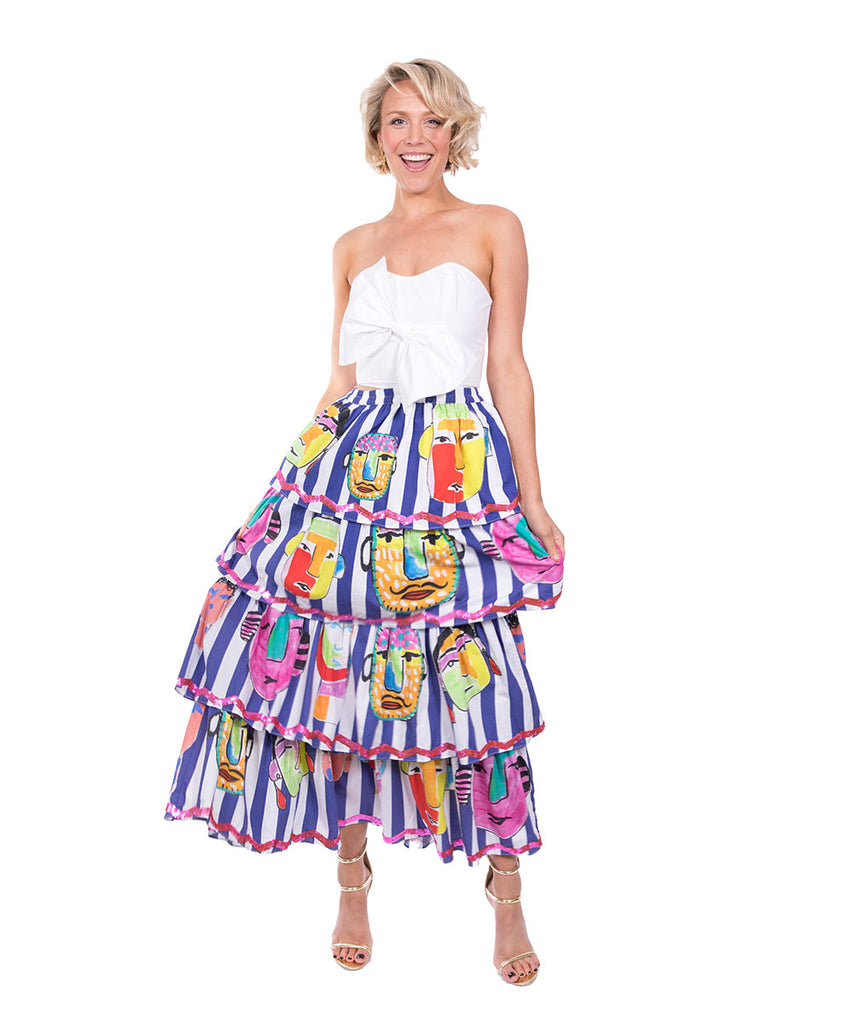 The Blue and White Striped Portrait Ruffle Skirt by Bonita Kaftans