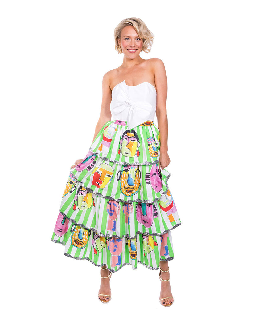 The Green and White Striped Portrait Ruffle Skirt by Bonita Kaftans