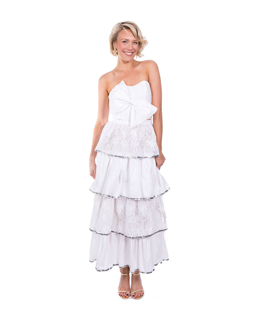 The White Havana Palm Lace Ruffle Skirt by Bonita Kaftans
