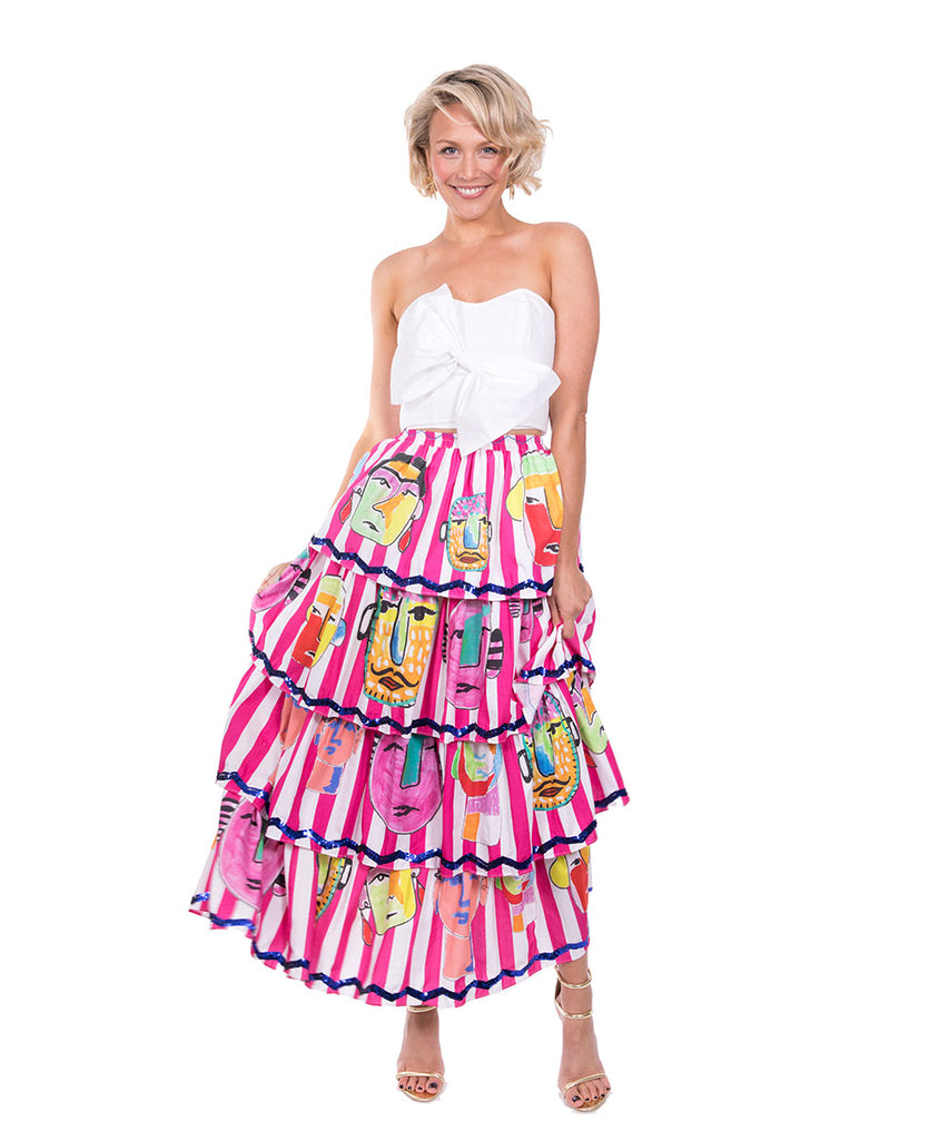 The Pink and White Striped Portrait Ruffle Skirt