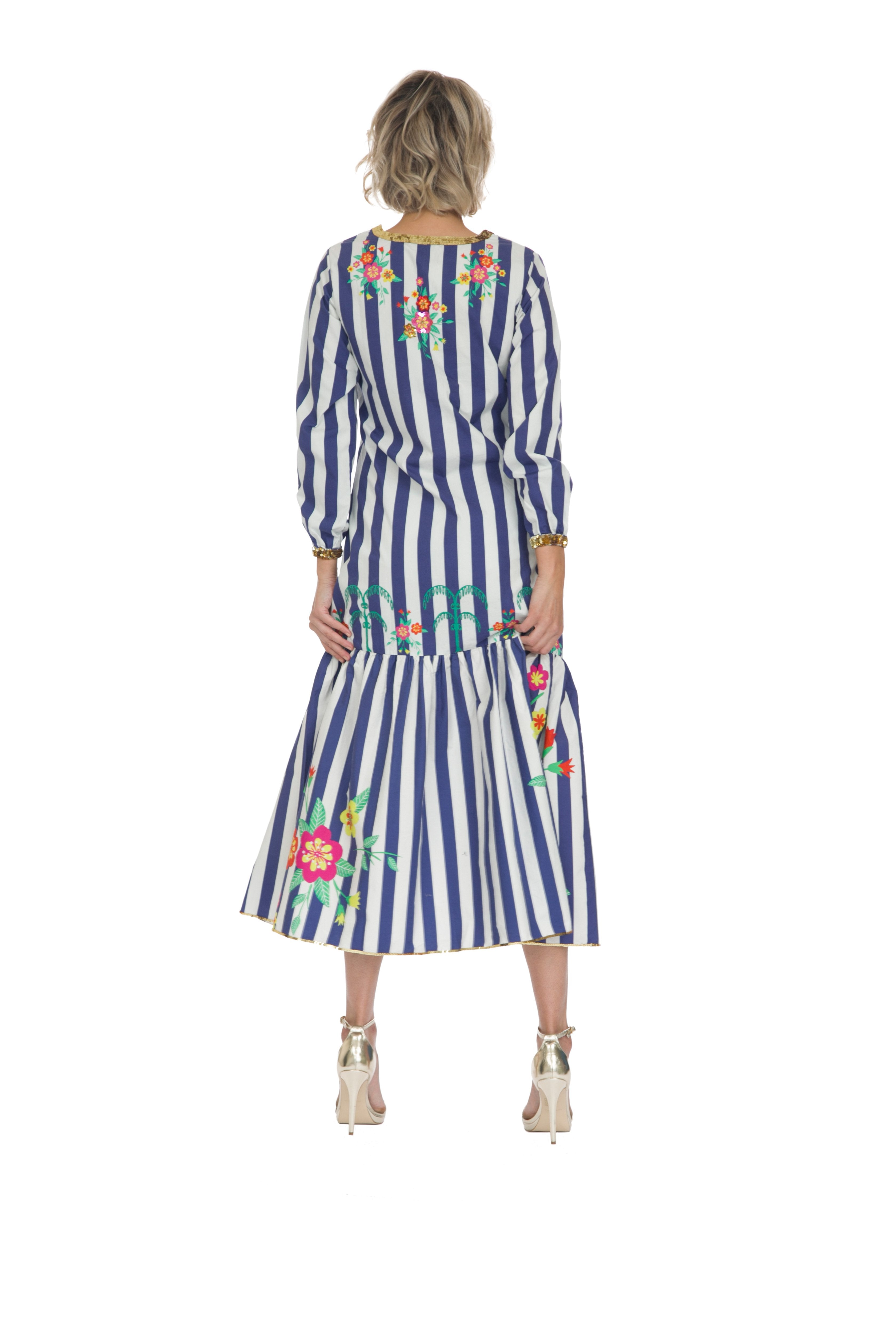 Blue Striped Blossom Long Sleeved Dress by Bonita Collective