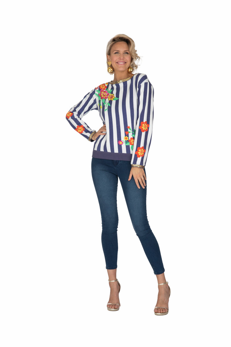 Blue Striped Blossom Jumper by Bonita Collective