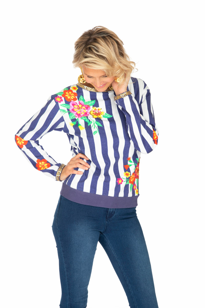 Blue Striped Blossom Jumper