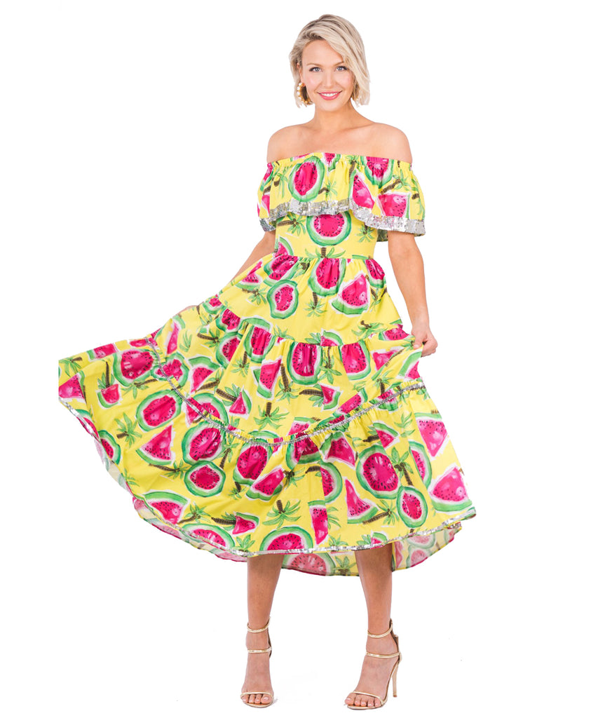 The Yellow Off The Shoulder Watermelon Dress