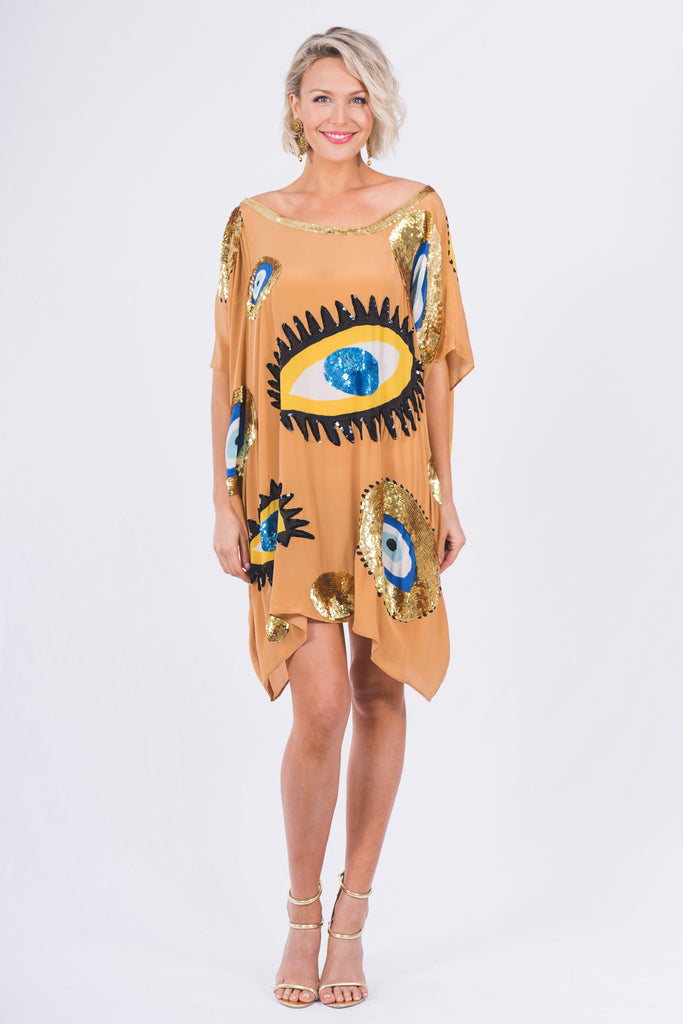 The Tan Evil Eye Kaftan