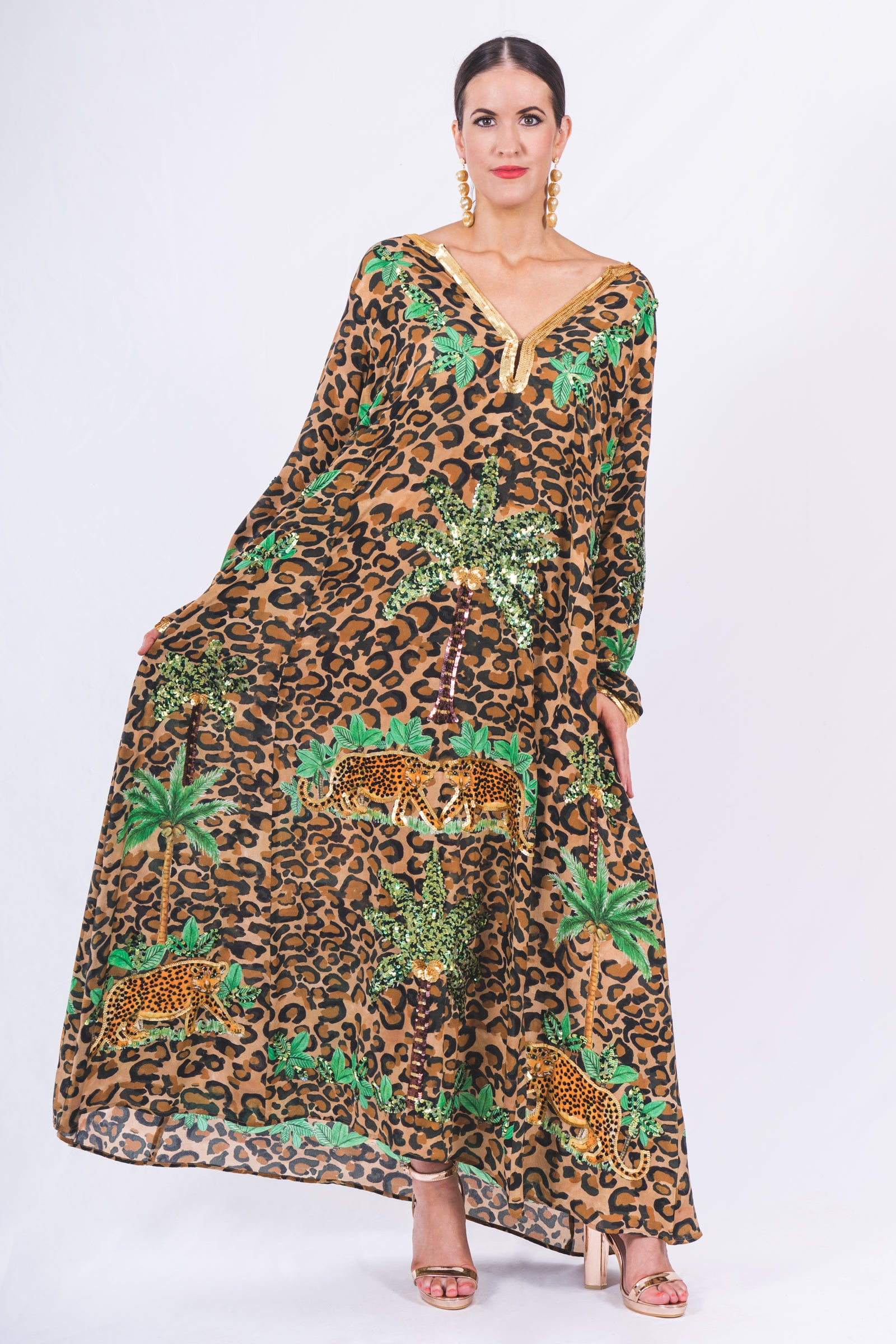 The Leopard Palm Springs Long Sleeve Kaftan by Bonita Collective