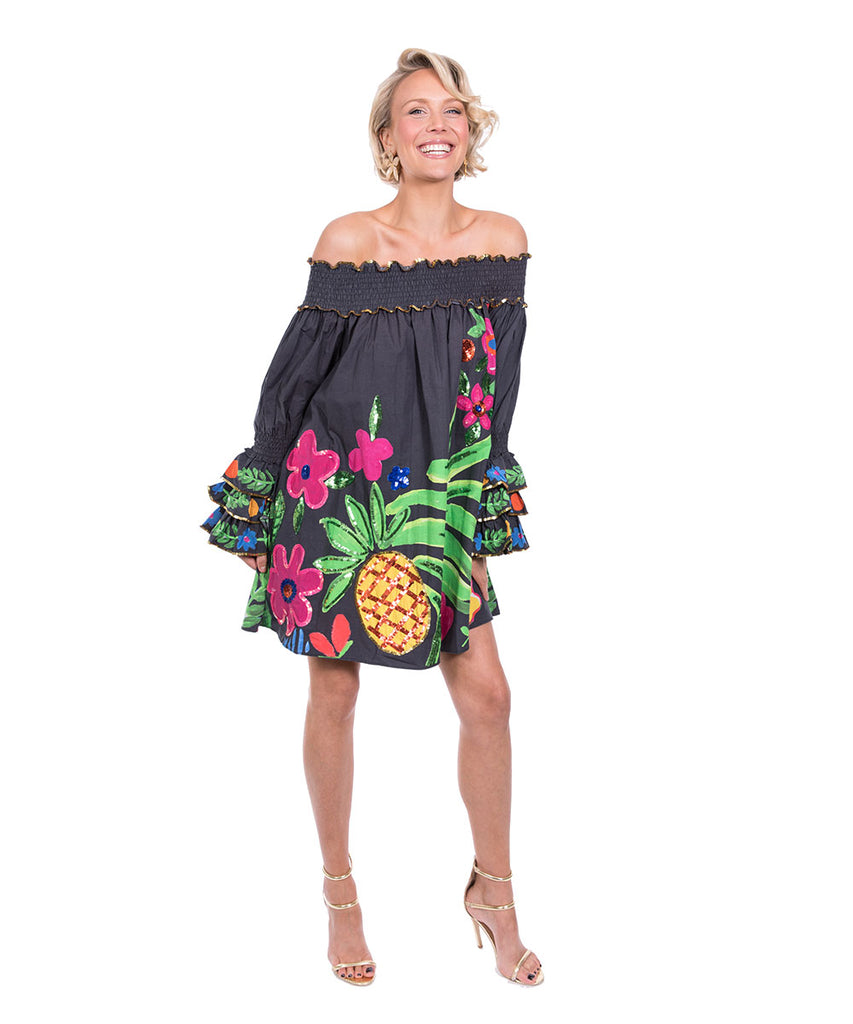 The Black Tropical Valley Ruffle Top by Bonita Kaftans
