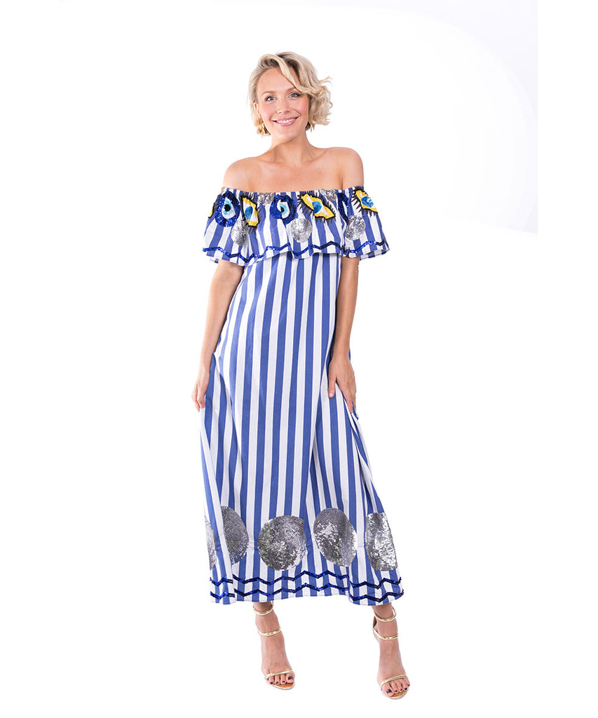The Blue and White Striped Evil Eye Dress by Bonita Kaftans