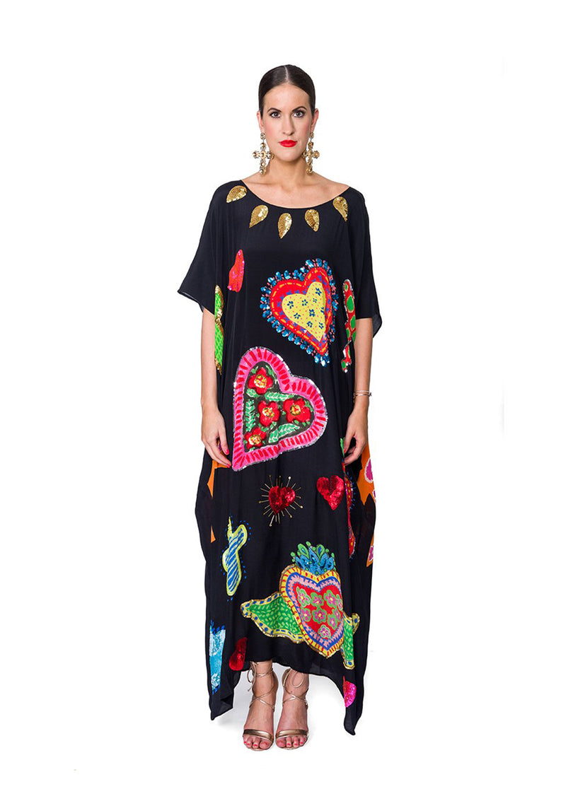 Black Sacred Hearts Kaftan by Bonita Collective