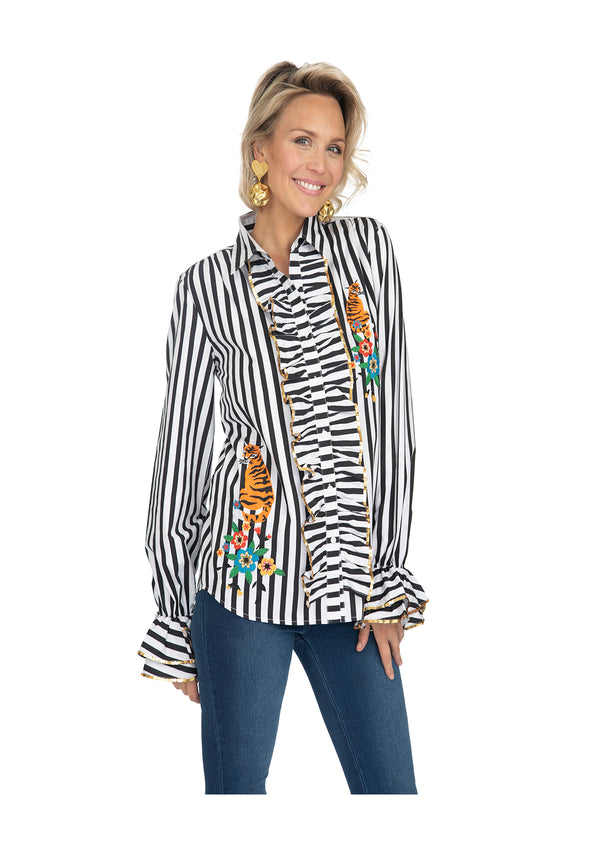 Black Striped Crayon Ruffle Shirt by Bonita Collective