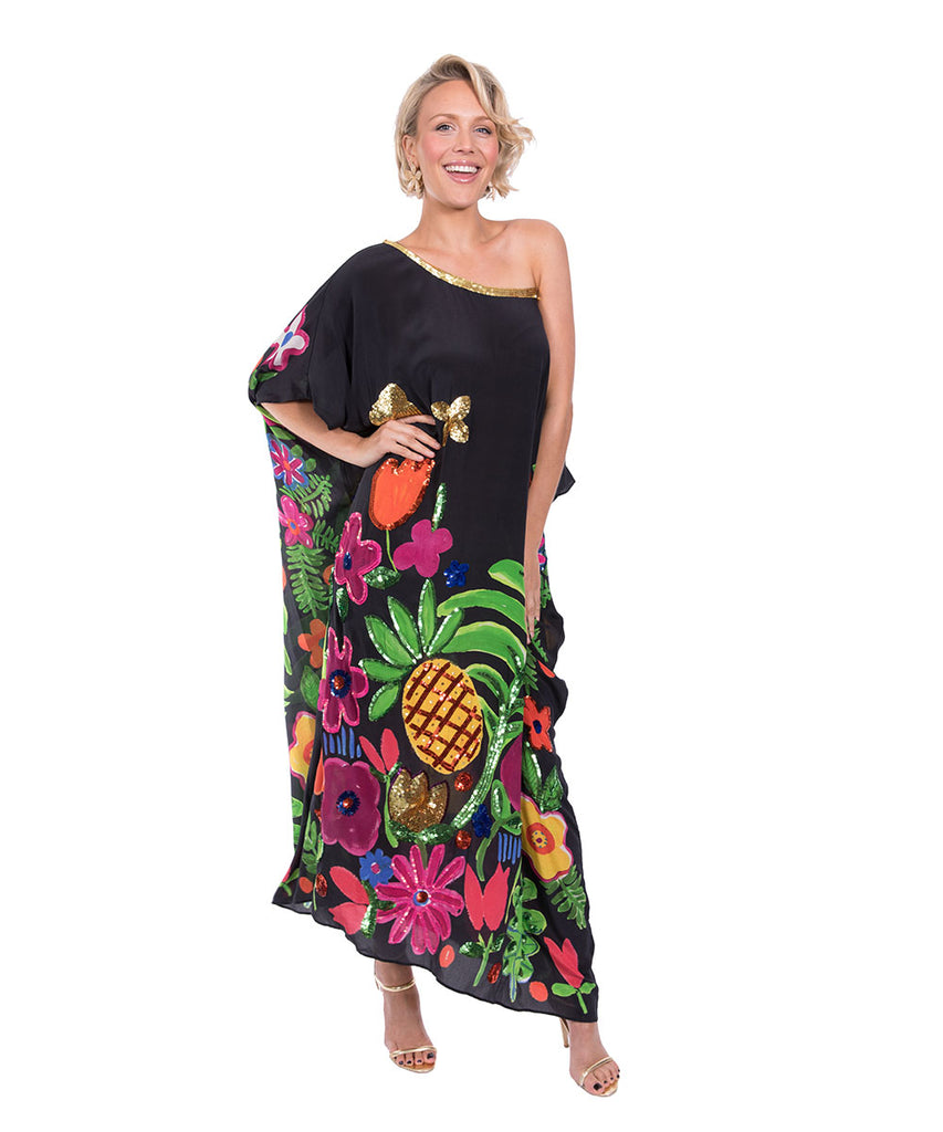 The Black Tropical Valley Kaftan by Bonita Kaftans