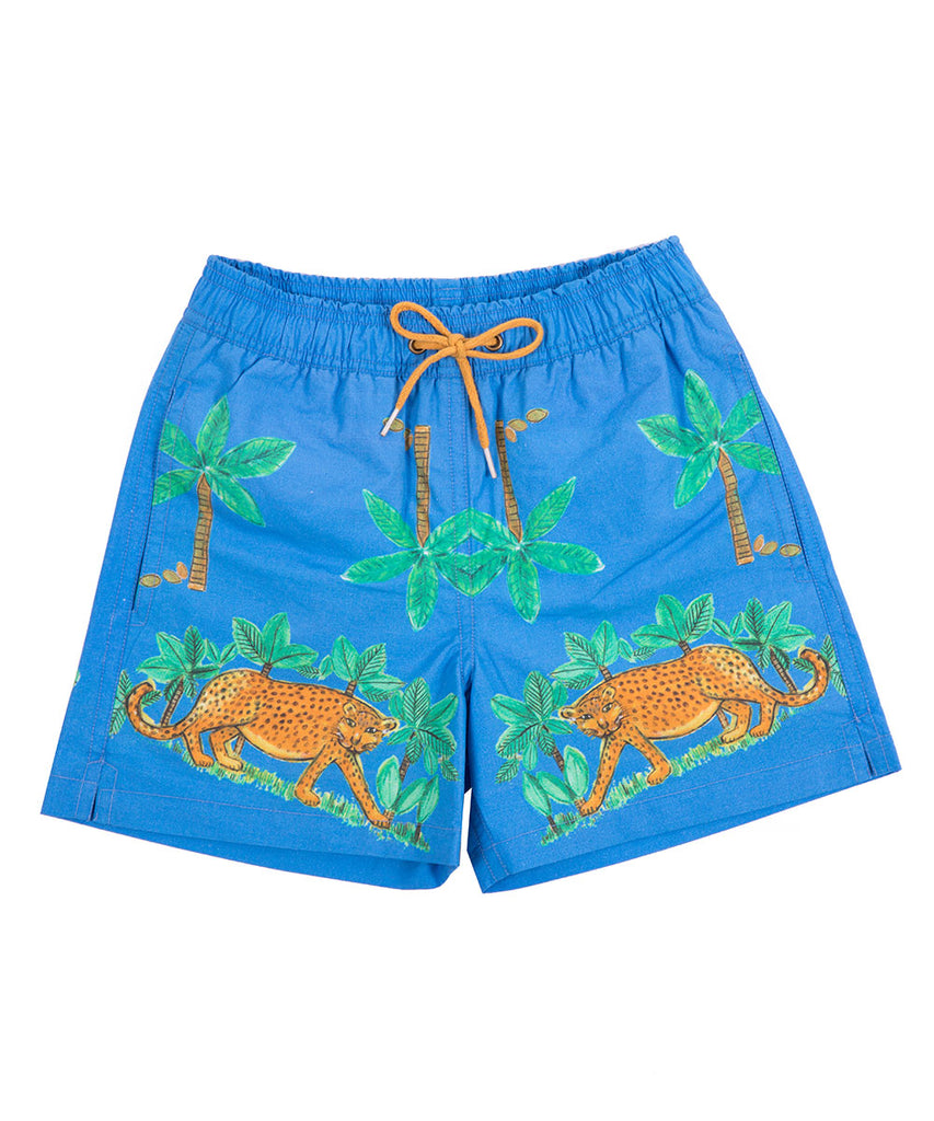 Boys Blue Cheetah Boardshorts by Bonita Bambino