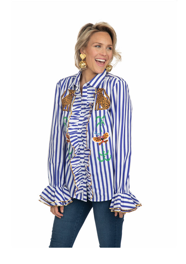 Blue Striped Crayon Ruffle Shirt by Bonita Collective