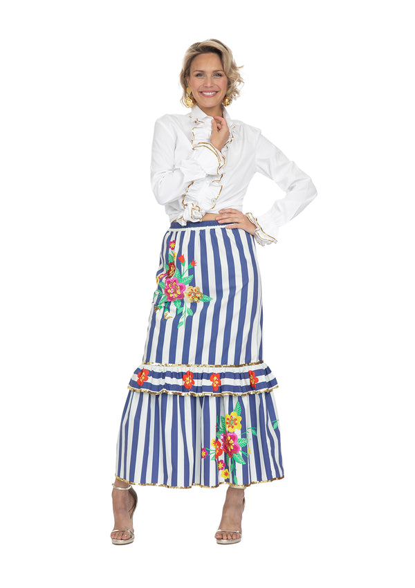Blue Striped Blossom Slimline Skirt by Bonita Collective