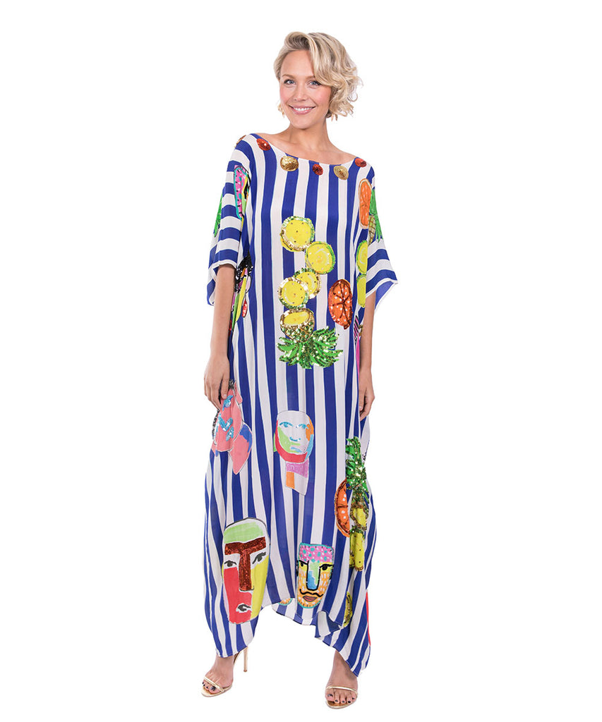 The Blue and White Striped Portrait Kaftan