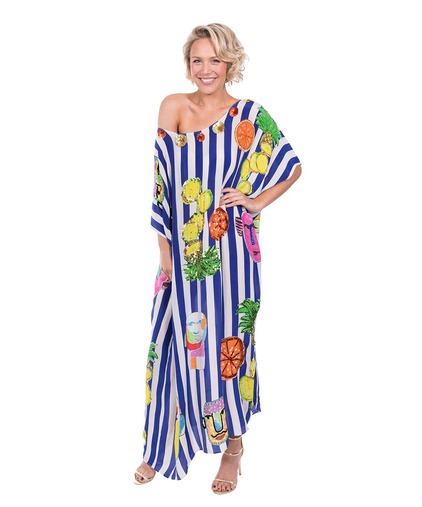 The Blue and White Striped Portrait Kaftan by Bonita Kaftans