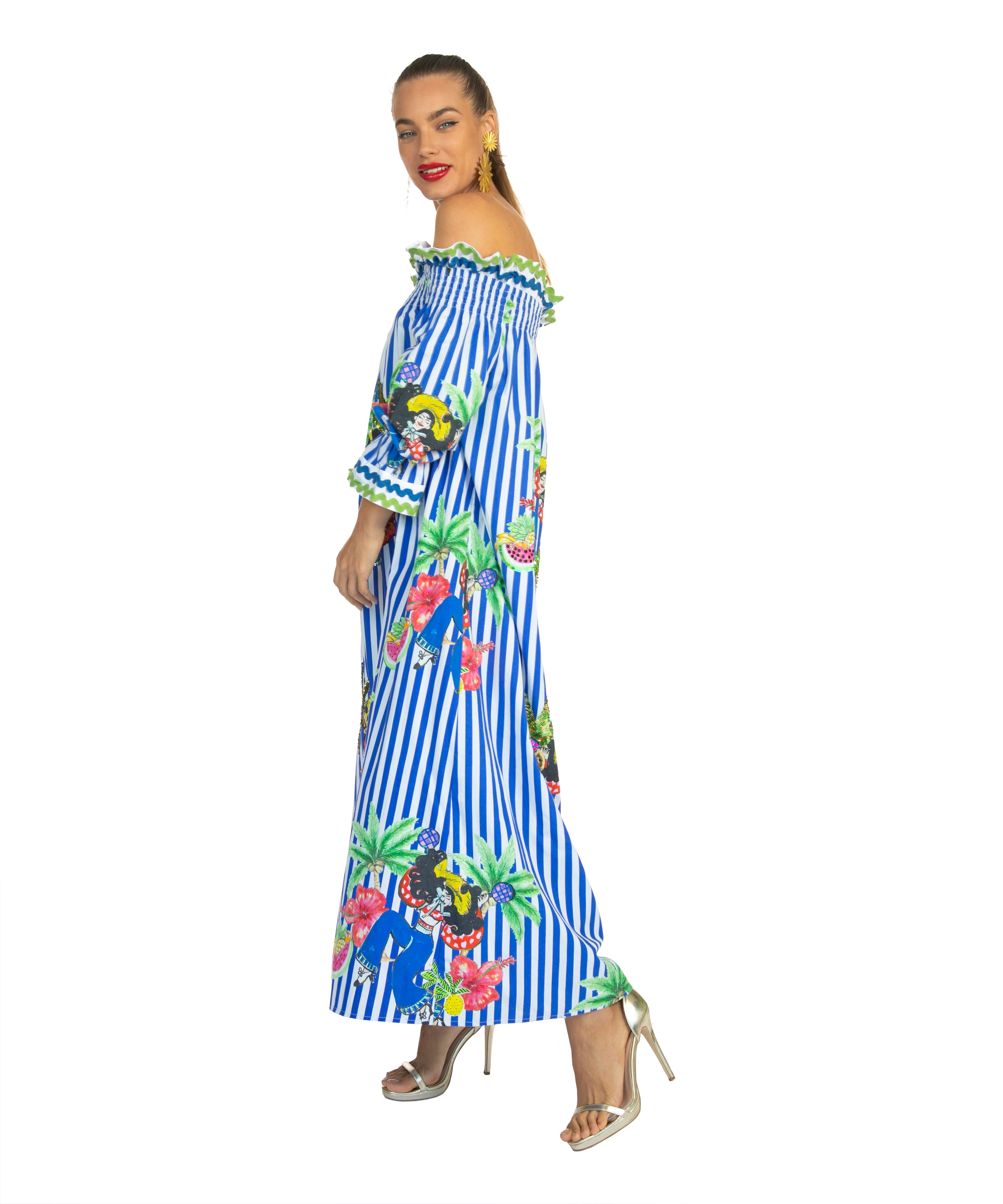 The Blue and White Striped Salsa OTS Dress by Bonita Collective