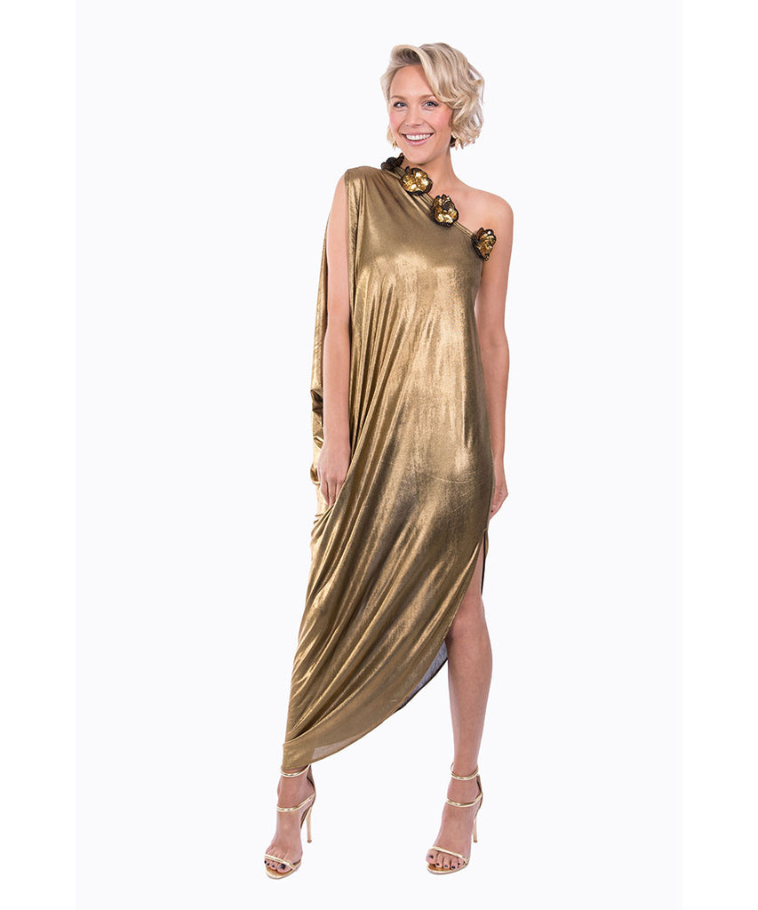 The Gold Cleopatra One Shoulder Dress by Bonita Kaftans