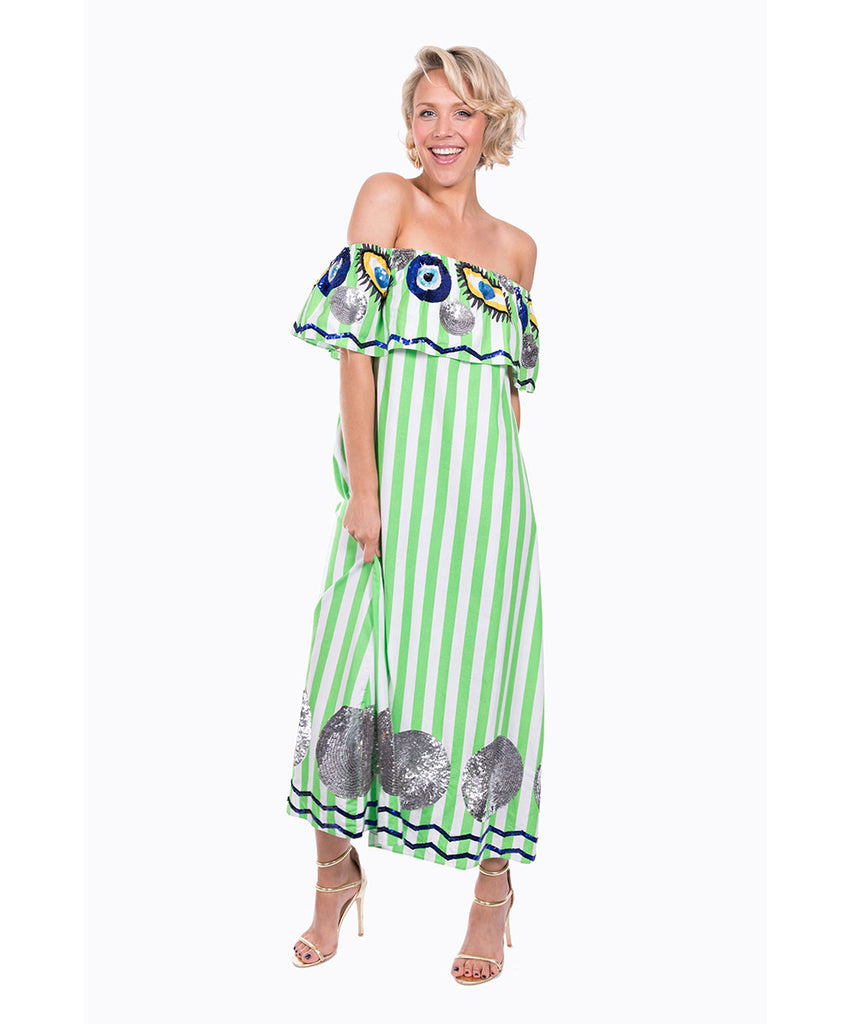 The Green and White Striped Evil Eye Dress by Bonita Kaftans