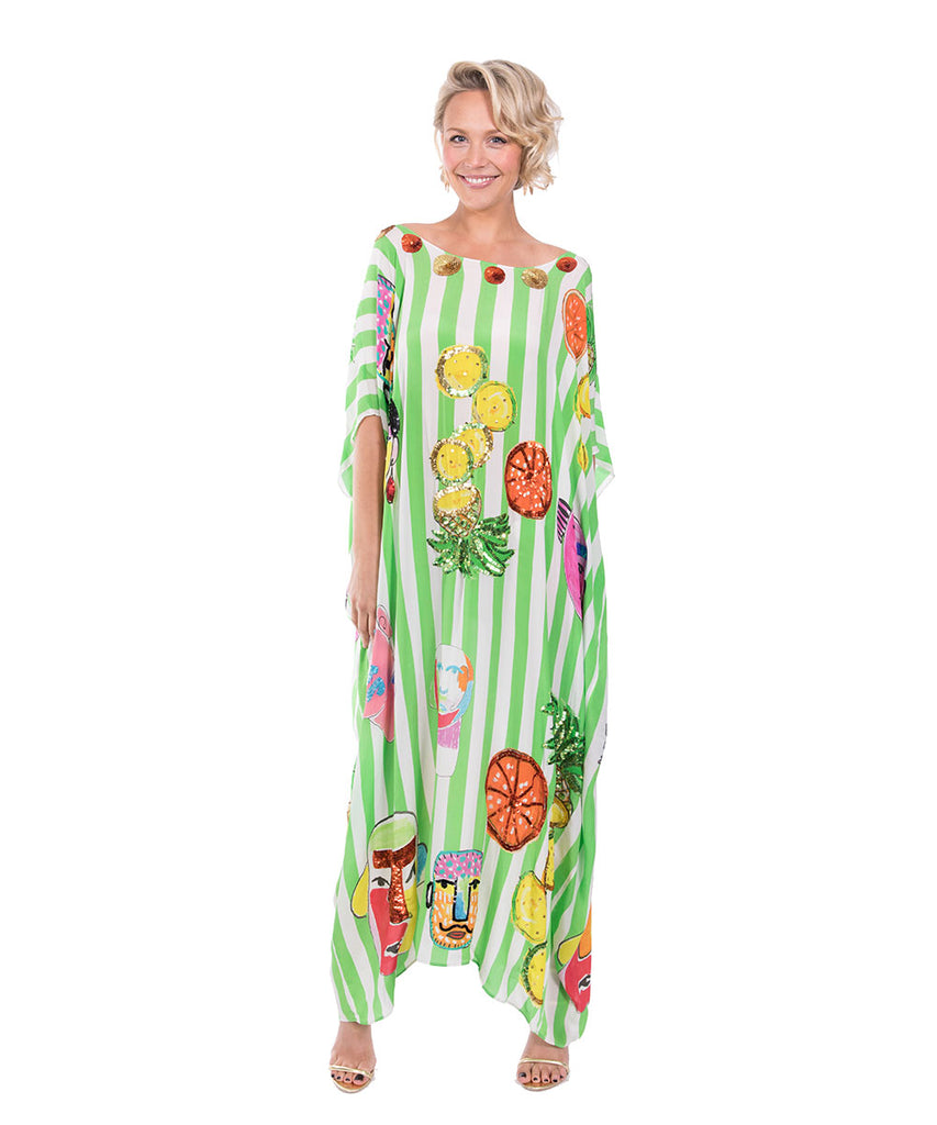 The Green and White Striped Portrait Kaftan by Bonita Kaftans